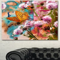 Designart 'Yellow Butterfly on Thistle Flowers' Floral Canvas Artwork - YELLOW