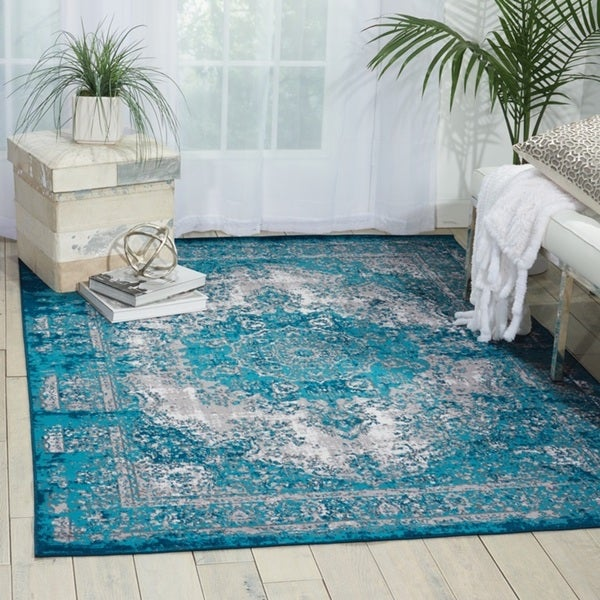 Nourison Aria Teal Area Rug 7 10 X 10 Free Shipping