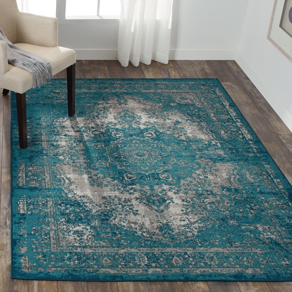 Shop Nourison Aria Teal Area Rug