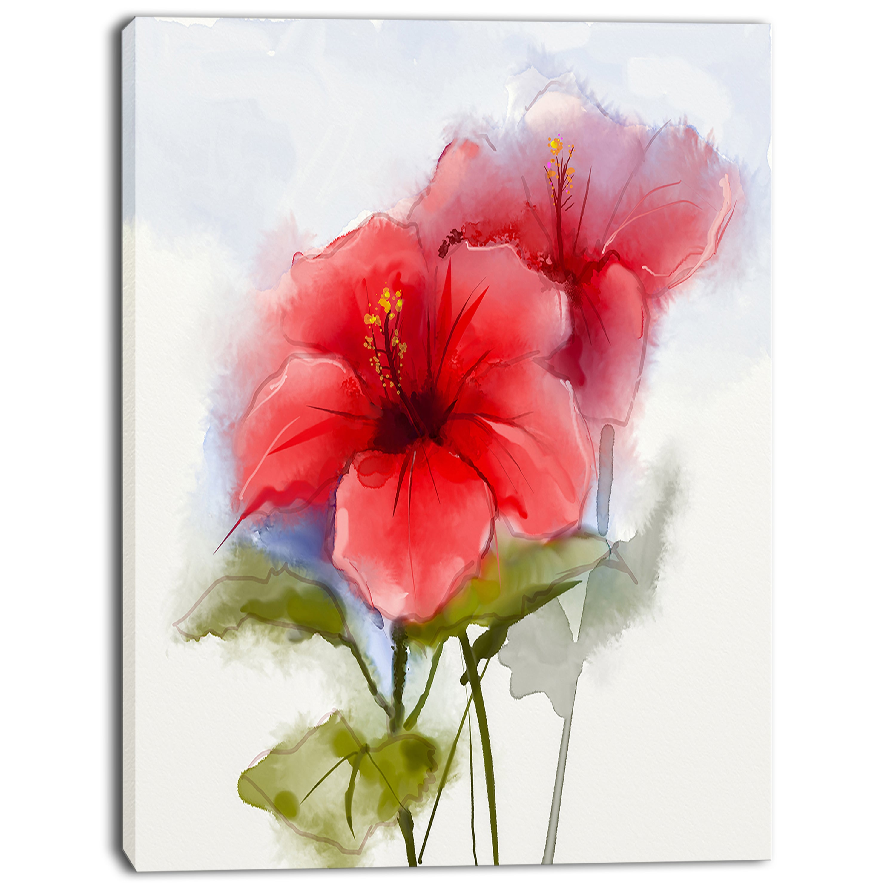 Designart Watercolor Red Hibiscus Flower Modern Floral Wall Art Canvas Overstock 13177351
