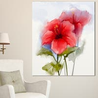 Designart 'Watercolor Painting Red Hibiscus Flower' Modern Floral Wall Art Canvas