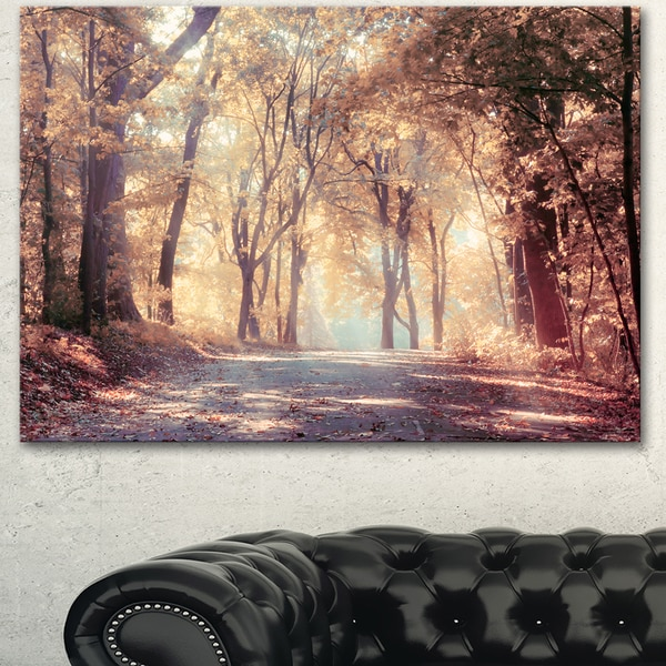Designart 'Golden Autumn Beautiful Forest' Landscape Artwork Canvas Print - GOLD