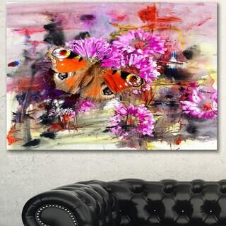 Designart 'Pink Flowers and Cute Butterflies' Floral Canvas Artwork