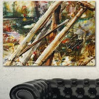 Designart 'Tools and Abstract Pattern' Large Abstract Canvas Artwork