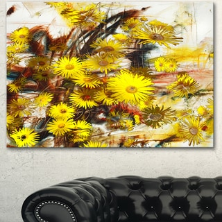 Designart 'Yellow Flowers Watercolor Illustration' Floral Canvas Artwork