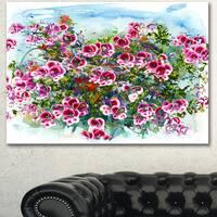 Designart 'Purple Flowers Watercolor Illustration' Floral Canvas Artwork - Purple