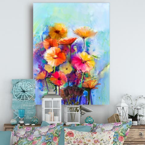 Designart 'Abstract Floral Watercolor ' Modern Floral Wall Art Canvas - Blue