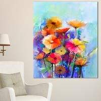 Designart 'Abstract Floral Watercolor Painting' Modern Floral Wall Art Canvas - Blue