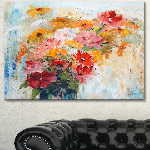 Designart 'Flowers in Vase Painted Illustration' Floral Canvas Artwork Print - Orange
