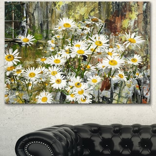 Designart 'Daisies Flowers Under the Window' Floral Canvas Artwork