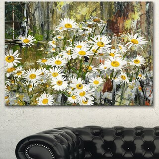 Designart 'Daisies Flowers Under the Window' Floral Canvas Artwork - White