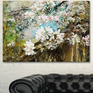 Designart 'Apple Blossoms With White Flowers' Floral Canvas Artwork