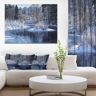 Designart 'Winter Lake in Deep Forest' Landscape Artwork Canvas Print - Green