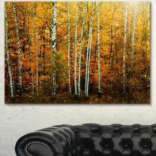 Designart 'Yellow Colorful Autumn Forest' Modern Forest Canvas Wall Artwork