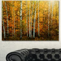 Designart 'Yellow Colorful Autumn Forest' Modern Forest Canvas Wall Artwork - YELLOW