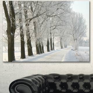 Designart 'Winter Rural Road at Sunrise' Large Forest Artwork Canvas - Silver