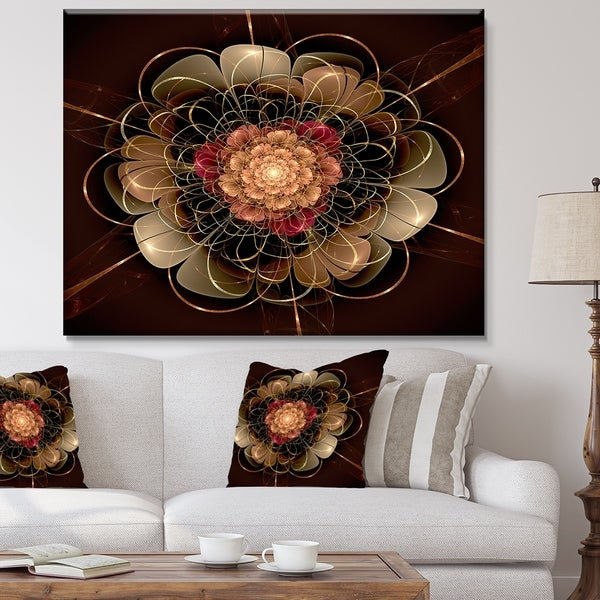 Designart 'Dark Gold Red Fractal Flower Pattern' Extra Large Floral Wall Art - Gold/Red