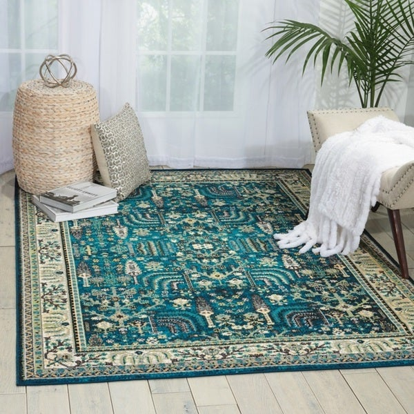 Shop Nourison Aria Teal Area Rug 7 10 Quot X 10 On Sale
