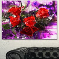 Designart 'Five Red Roses Abstract Background' Floral Canvas Artwork