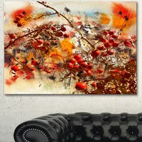 Designart 'Brier Rose Abstract Background' Modern Flower Canvas Wall Artwork - Red