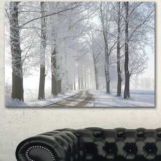 Designart 'Winter Rural Road in the Morning' Large Forest Artwork Canvas