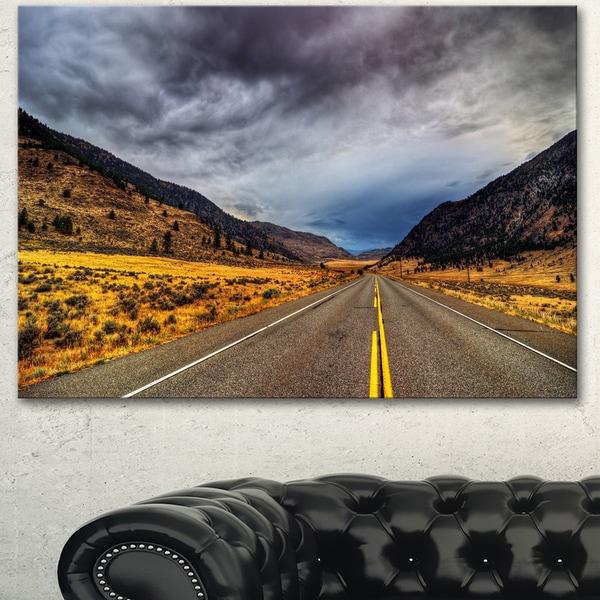 Designart 'Mountain Desert Highway British Columbia' Extra Large Landscape Art Canvas - Brown
