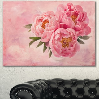 Designart 'Peony Flowers in Vase on Pink' Floral Canvas Artwork Print - Pink