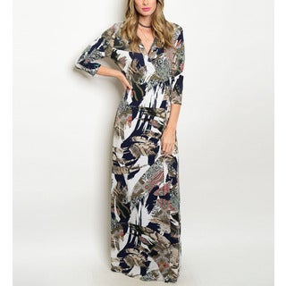 JED Women's Showstopper Multi-print Polyester Blend 3/4 Sleeve Maxi Dress