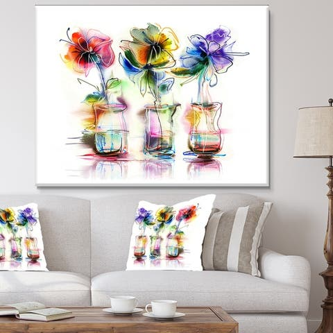 Designart 'Abstract Flowers in Glass Vases' Extra Large Floral Wall Art - Multi-color