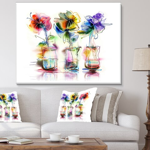 Designart 'Abstract Flowers in Glass Vases' Extra Large Floral Wall Art - White