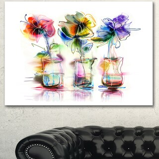 Designart 'Abstract Flowers in Glass Vases' Extra Large Floral Wall Art - White (5 options available)