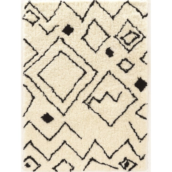 Tufted Morocco Shag Damascus Ivory Polyester Rug (2'x8')