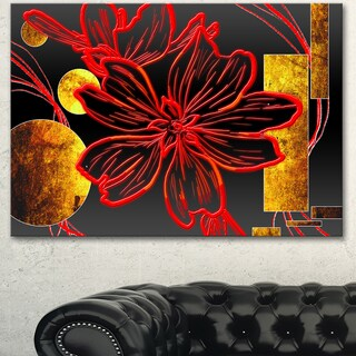 Designart 'Abstract Red Flower Painting' Modern Flower Canvas Wall Artwork