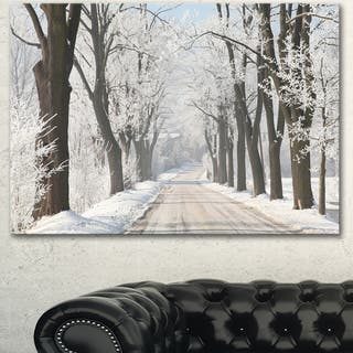 Designart 'Winter Lane in Countryside' Large Forest Artwork Canvas - White