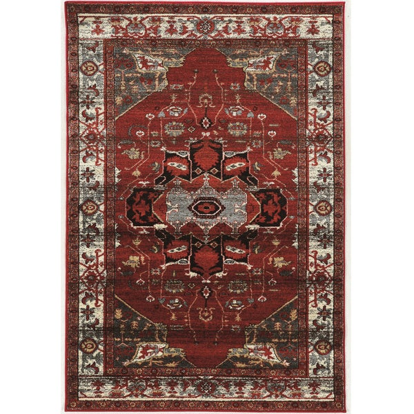 PowerLoomed Serape Goravan Red Polyester Rug - 2' X 3'