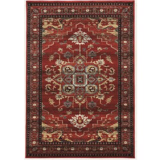PowerLoomed Serape Mahal Red Polyester Rug (2' X 3')
