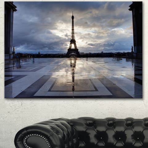 Designart 'Reflection of Eiffel Tower With Clouds' Extra Large Cityscape Wall Art on Canvas - White