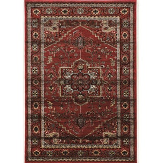PowerLoomed Serape Medallion Red Polyester Rug (2' X 3') - 2' x 3'