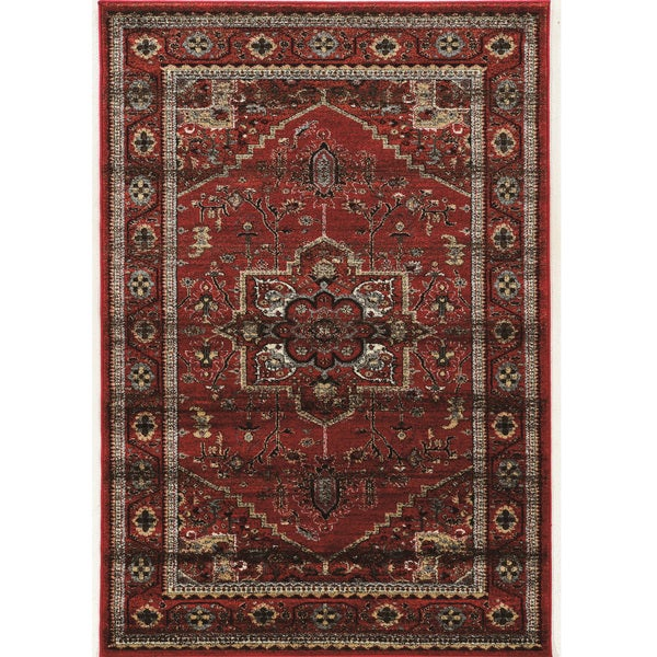 PowerLoomed Serape Medallion Red Polyester Rug