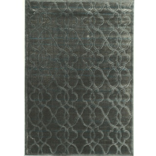 PowerLoomed Platinum Raw Iron  Blue Black Polyester Rug (2' X 3')