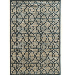 PowerLoomed Platinum Raw Iron  Blue Cream Polyester Rug (2' X 3')