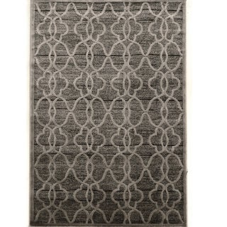 PowerLoomed Platinum Raw Iron Gray Black Polyester Rug (2' X 3')