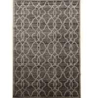 PowerLoomed Platinum Raw Iron Gray Black Polyester Rug (2' X 3')