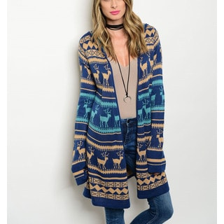 JED Women's Blue Acrylic Thick-knit Holiday Cardigan with Hood