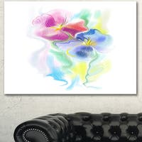 Designart 'Colorful Floral Watercolor Sketch' Extra Large Floral Wall Art - White