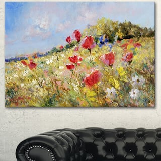 Designart 'Painted Poppies on Summer Meadow' Landscape Wall Art Print Canvas - Green