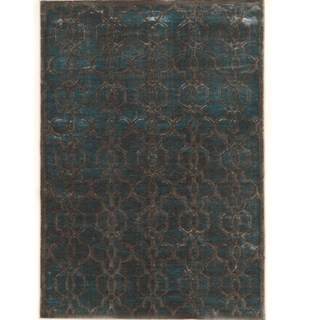 PowerLoomed Platinum Iron Gate Blue Cream Polyester Rug (2' X 3')