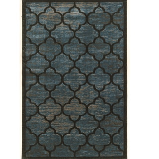 PowerLoomed Platinum trellis Blue Gray Polyester Rug (2' X 3')