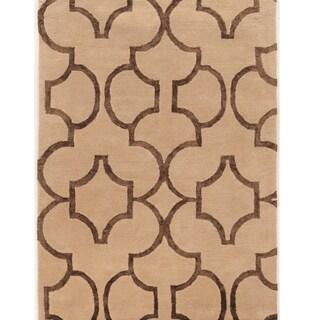 """Hand Tufted Aspire Wool Geo Beige/Brown Wool Rug (1'10"""" X 2'10"""")"""