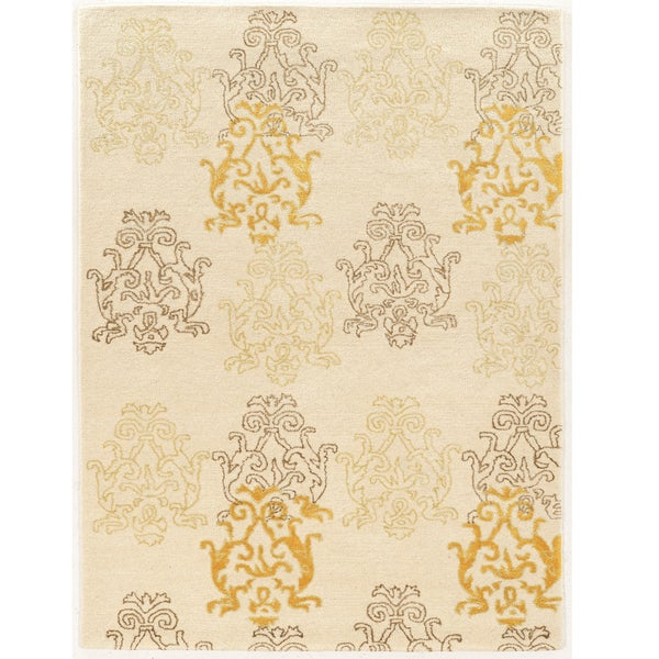 Hand Tufted Aspire Damask Cream/Gold Wool Rug (2' x 3')